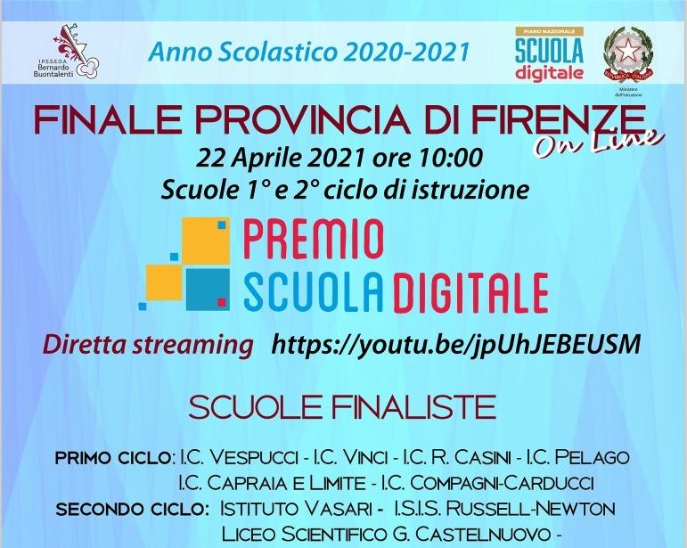 Premio scuola digitale 2020-21: il Vasari in finale provinciale! – Diretta streaming 22 aprile ore 10,00